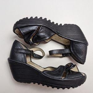 Fly London Wedge Black Metallic Sandals  37